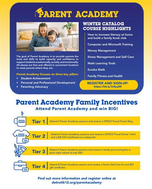 List of incentives for parents who attend Parent Academy workshops.