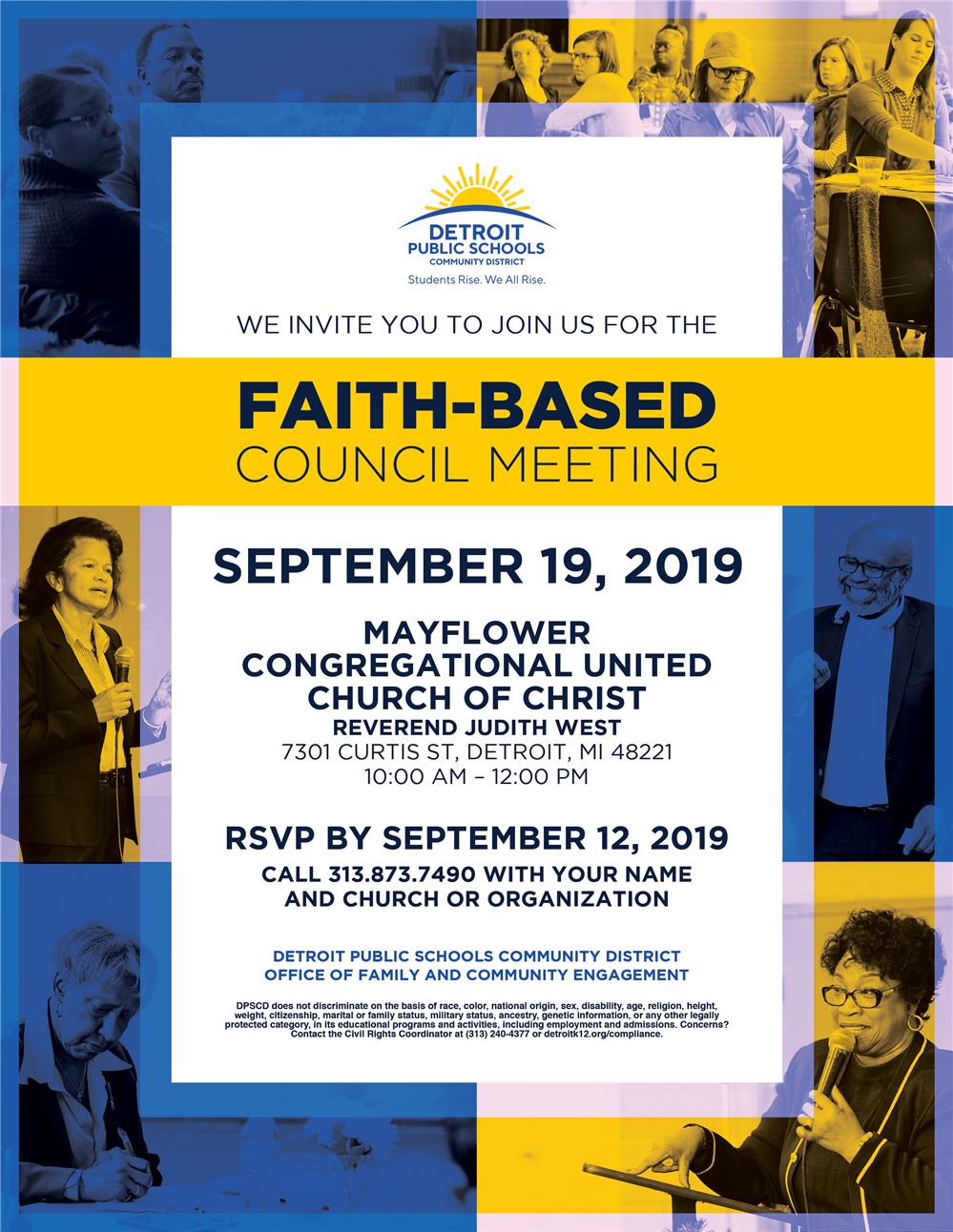 Flyer of upcoming Faith Based council meeting on September 19th at Mayflower Congregational United church of Christ. Detroit