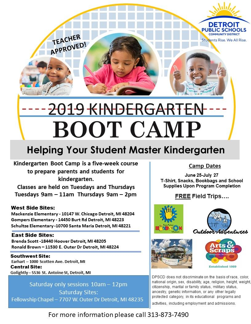 Flyer for Kindergarten bootcamp with students reading and doing class work