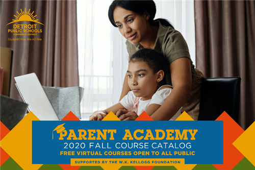 Fall 2020 catalog cover for Parent Academy.