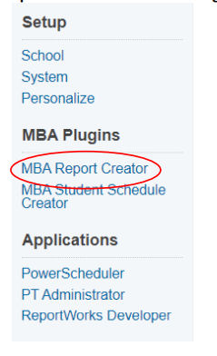 Select MBA Report Creator