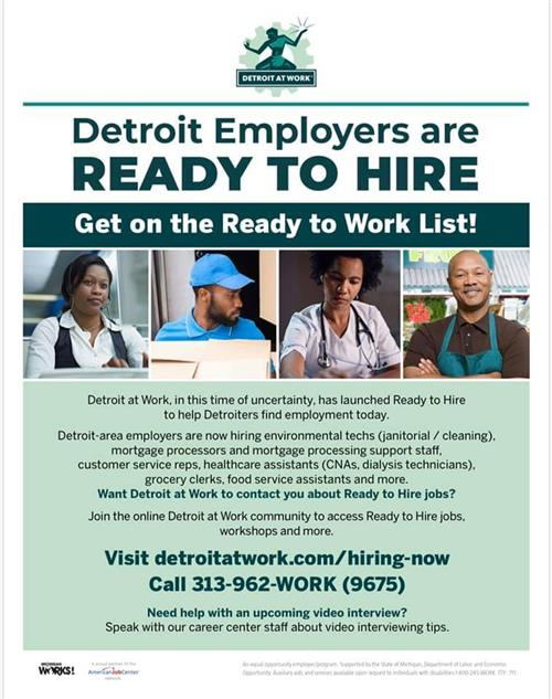 Detroit Employers are Ready to Hire flier