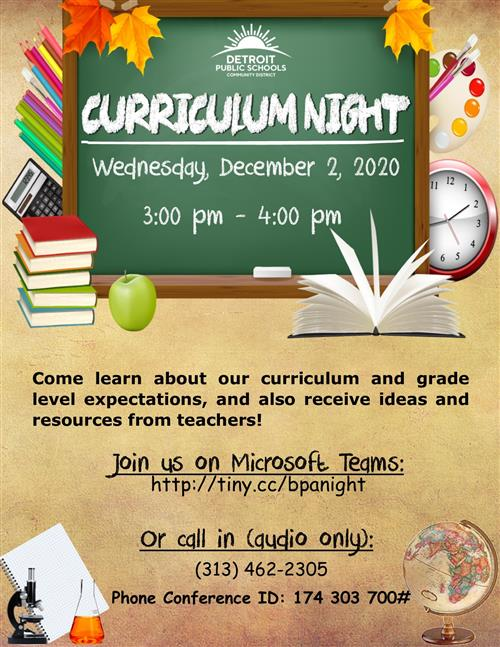 Please Join Us In Teams for our Upcoming Curriculum Night!