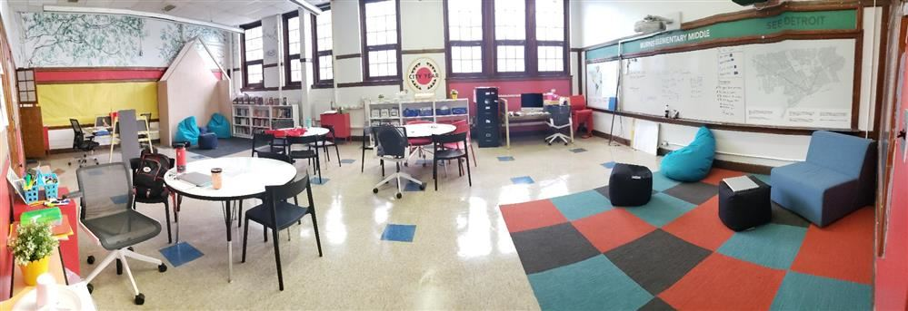 Panoramic view of City Year classroom