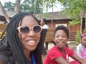 Burns 5th Grade Teacher Ms. Parry and student at Detroit Zoo