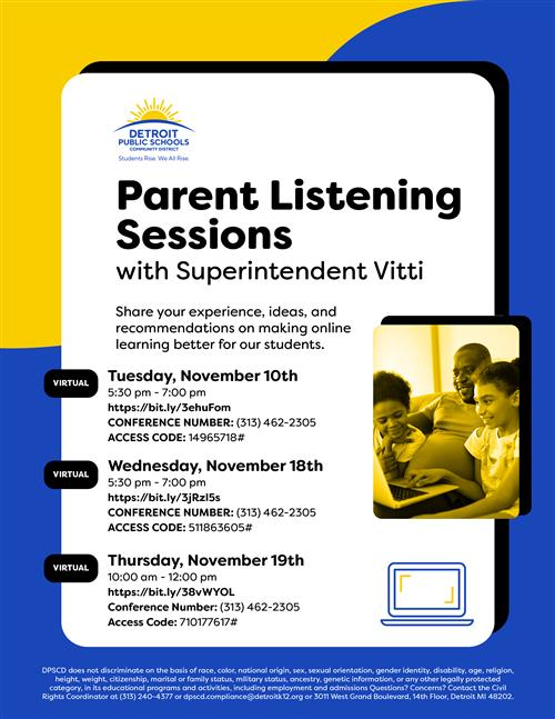 Join an Upcoming Parent Listening Session on Nov. 18 or 19!