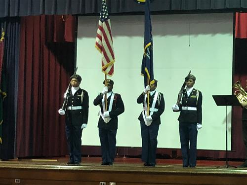 JROTC and American flags