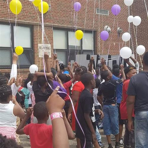 Balloon release and moment of silence for our Previous Principal Mrs. Patricia Hines
