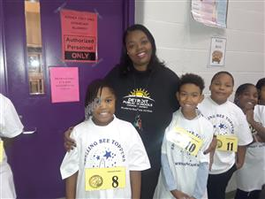 spelling bee students and teacher