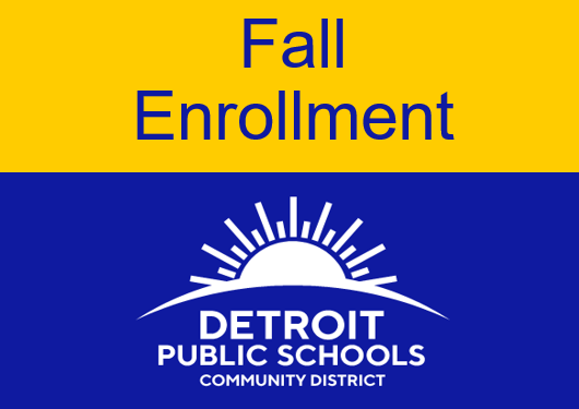 Blue and Yellow words that say Fall Enrollment