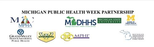 Logos of Michigan Public Health Week PartnershipS