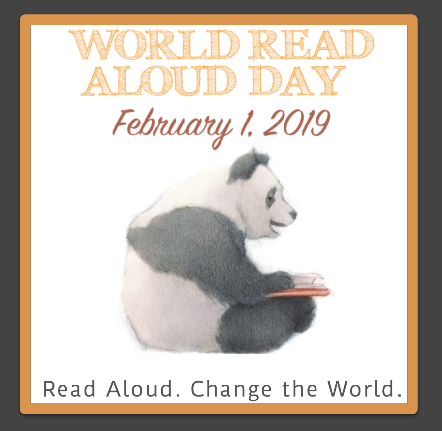 A panda sitting and reading. World Read Aloud Day. February 1, 2019. Read Aloud. Change the World.
