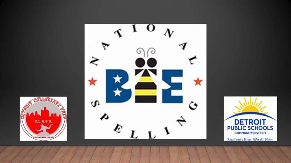 Image of the Spelling Bee icon with the DPSCD and DCPHS@ Northwestern logos