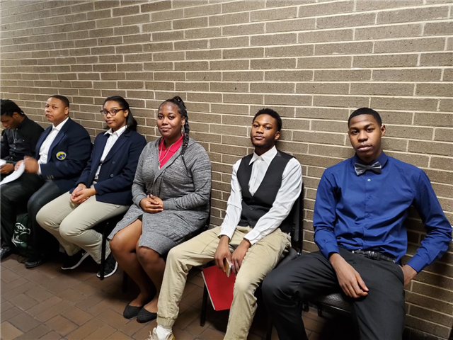 Image of students waiting to interview for future careers, at DCPHS at Northwestern