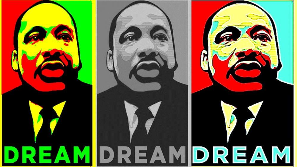 3 Animated Image of Martin Luther King, Jr.,  side by side. The center Image is black and white.