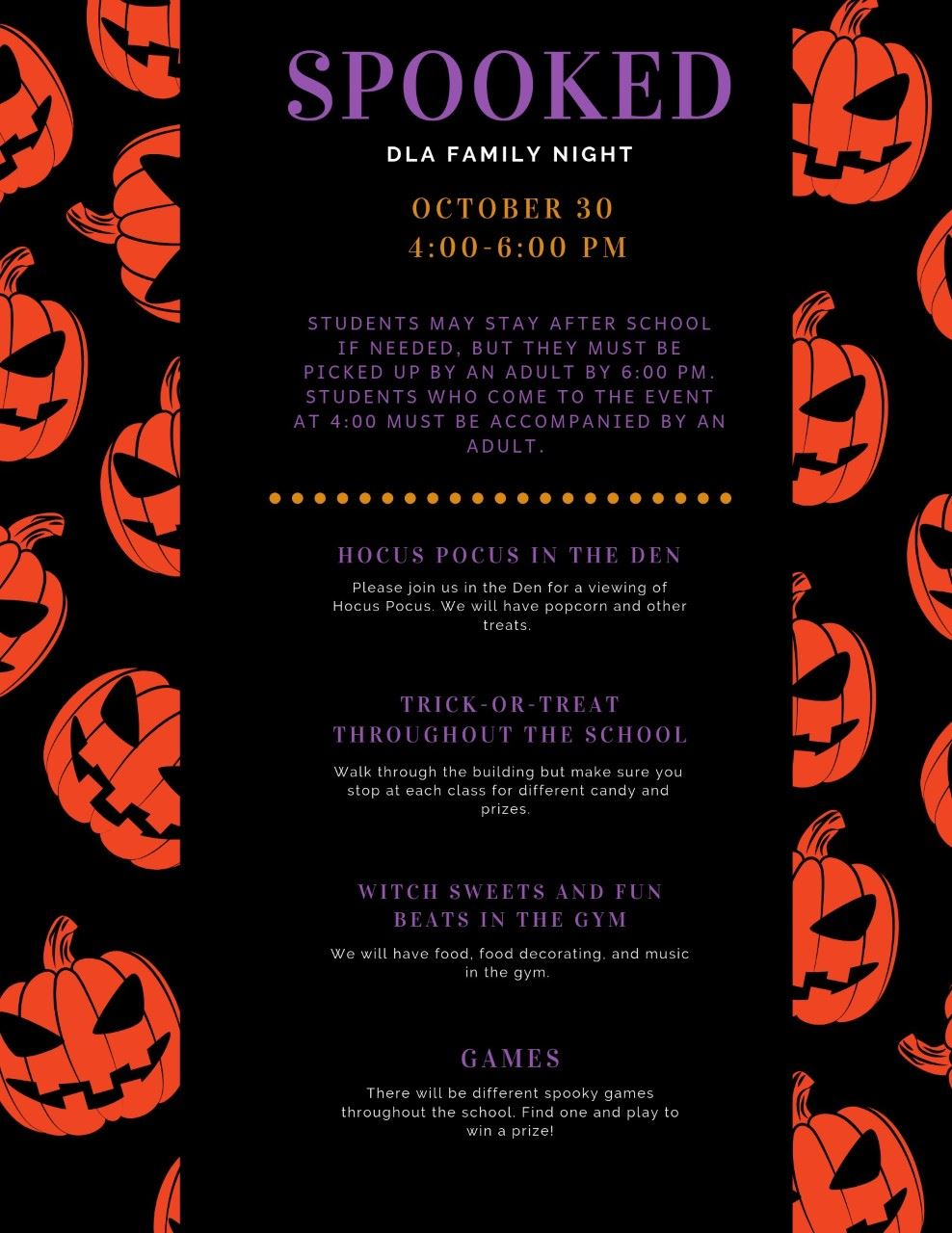 Spooked Family Night Flyer