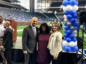 DPSCD Superintendent Dr. Nikkolai Vitti, Principal Alean King and Jen McCollum of the Detroit Lions Organization
