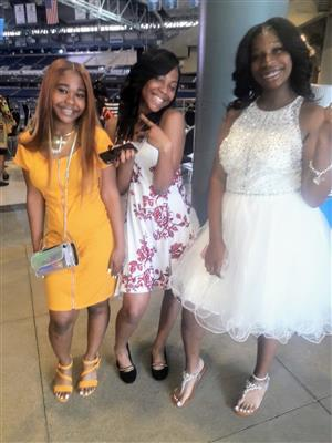 Graduates Tawauna Smith, Tra'Kneese Ward, Selena Clark