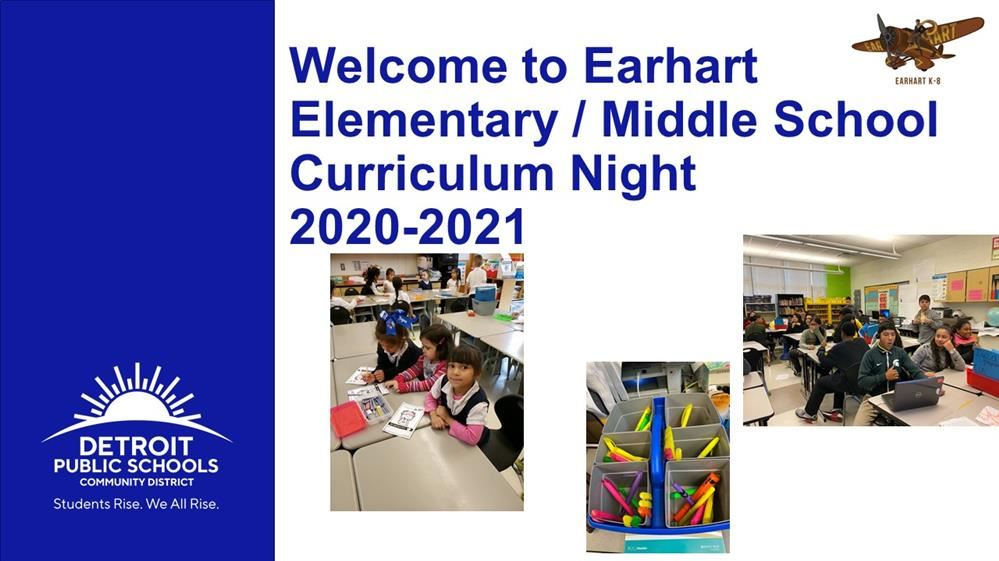 Welcome to Amelia Earhart Curriculum Night