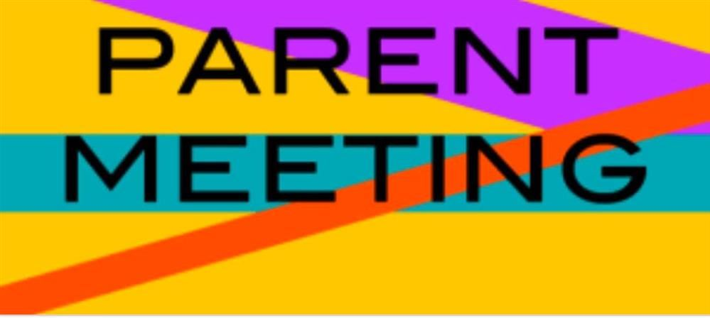 colorful background with 2 words, Parent Meeting