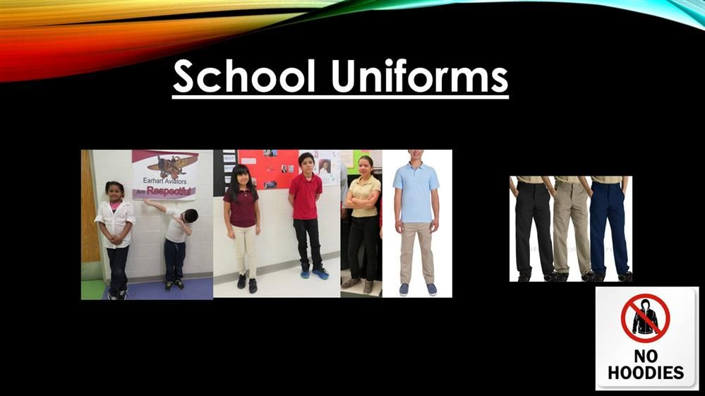 photos of sample uniforms for earhart students
