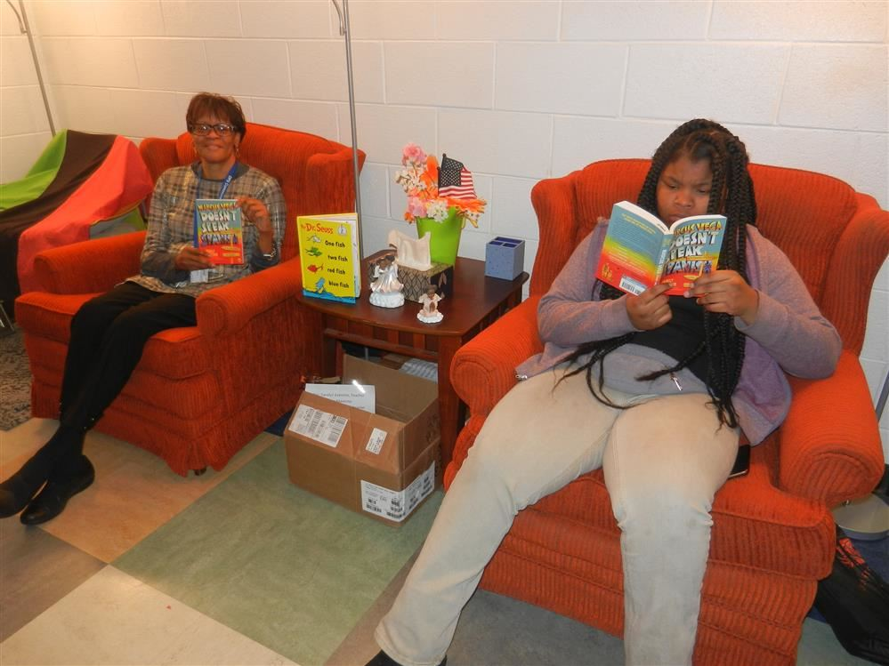 Students have fun reading in safe spaces.