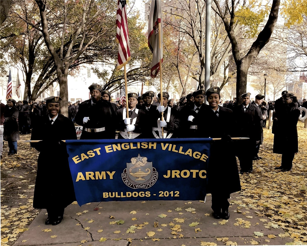EEVPA Students march in the Veterans Day Parade.
