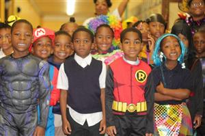 1st graders in Halloween costume