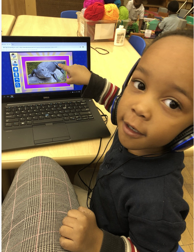 Pre-k student on computer