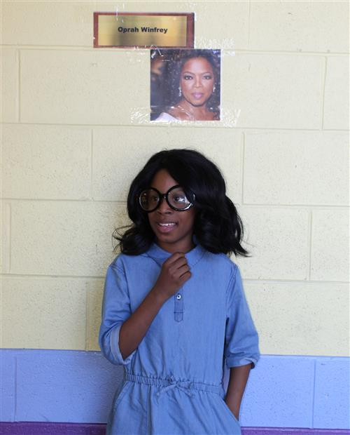 A student dressed as Oprah Winfrey