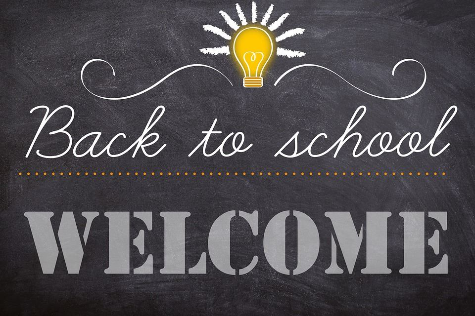 Chalkboard with welcome back message