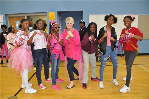 Pink day staff and students