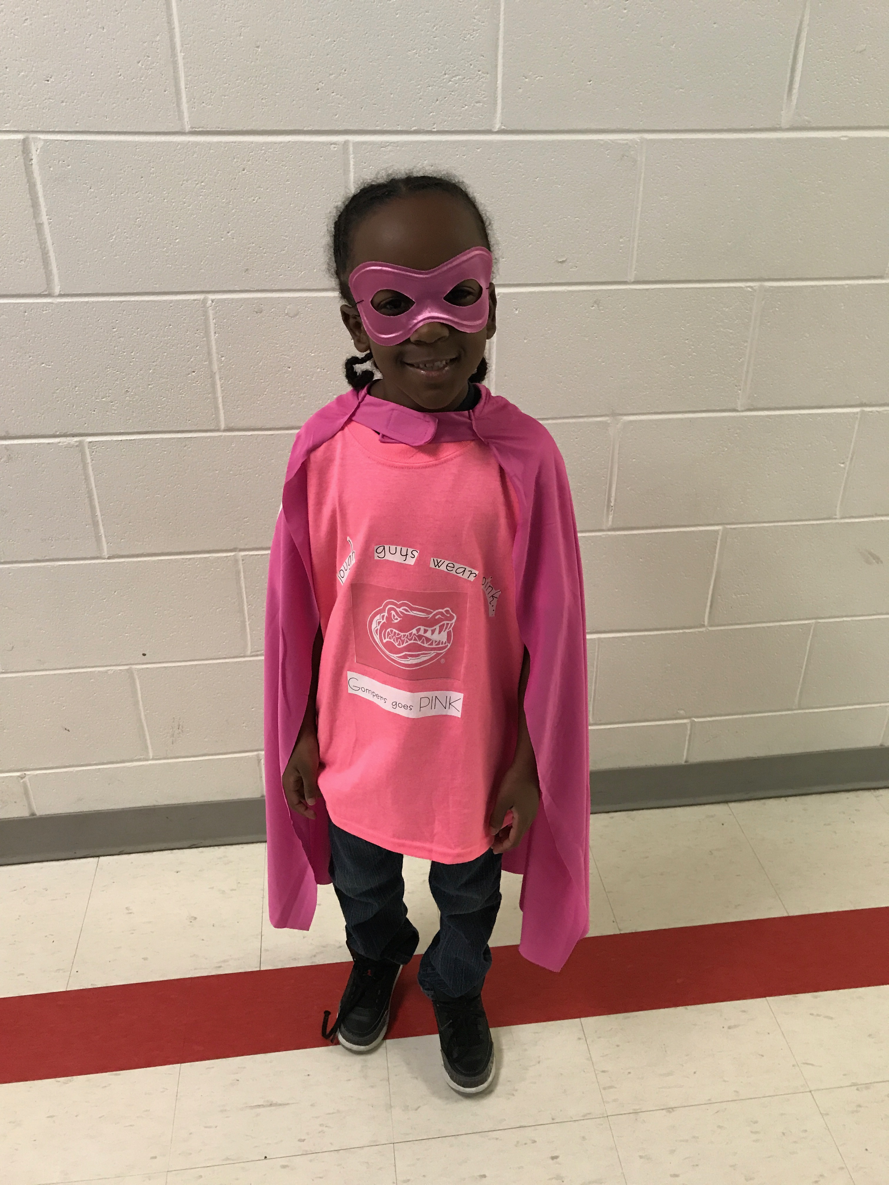 Student dressed in pink on Pink Day.