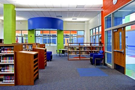 Inside the library at Gompers Elementary-Middle School