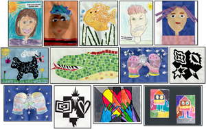 collage of 13 student pieces of art selected for the DIA Exhibition