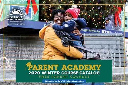 Mother and child hugging on cover of Parent Course Catalog