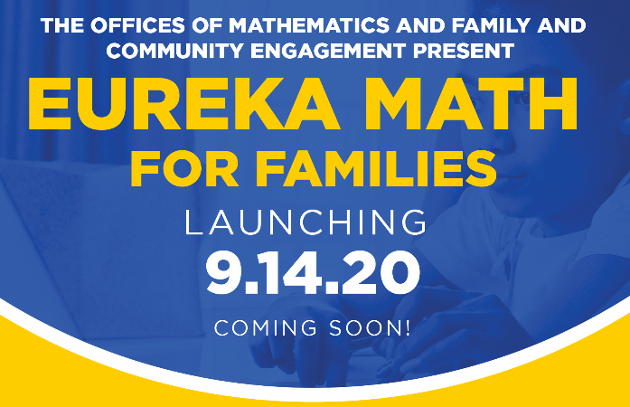Eureka Math for Families on blue background